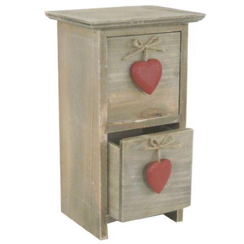 Natural Wooden Red Heart Storage Drawers